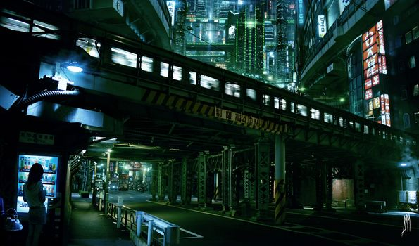 Cyberpunk, city, lights, future, Skyscrapers, train, Tokyo, AMM