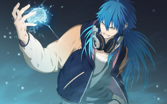 anime, brain, headphones, guy, blue hair