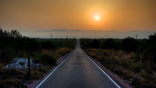 road, sky, sun