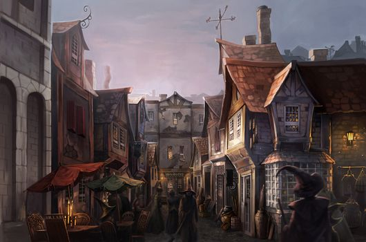 harry potter, Fan Art, Diagon Alley, Wizards, Street, home, evening, light, Candles, window