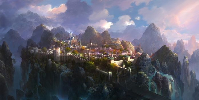 castle, fantasy world, Mountains