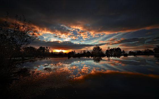 ночь, озеро, природа, пейзаж