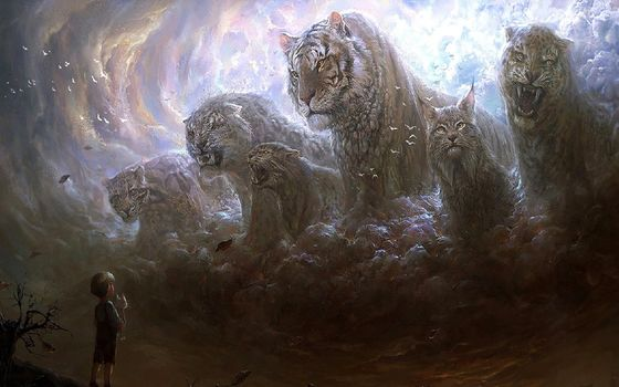 boy, cat, some, cat, fantasy, big cats, clouds, mood