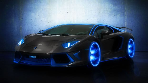 lamborghini aventador, Lamborghini, Lamborghini, neon, blue, wheelbarrow, machine, car, Concept, concept car, black car, Tuning, cars, machinery, Car