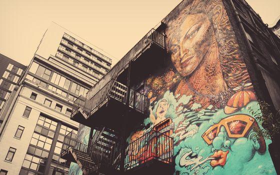 граффити, дом, девушка