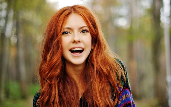 Ginger, girl, laughter, Beautiful, cheerful, mood