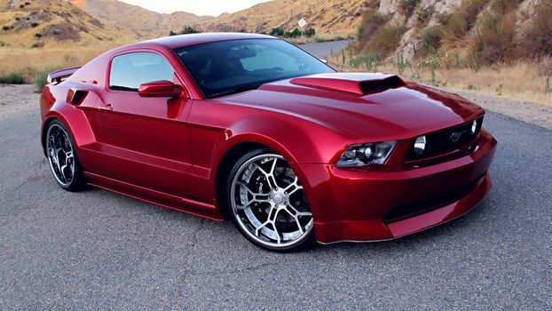 Ford Mustang GT, Red, Tuning, Wide Body Kit, Rims, автомобили, машины, авто
