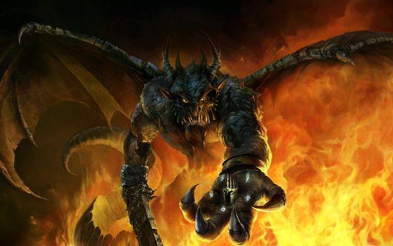daemon, sword, wings, Horn, Crown, flame