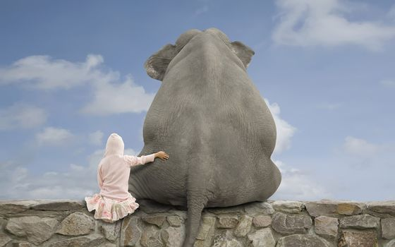 girl, elephant, friendship, sky, clouds, stones
