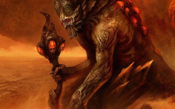 monster, daemon, staff, Horn, Skull