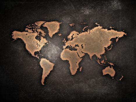 map, the continents, grunge