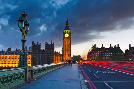 Биг Бен ночью, Лондон, город, Англия, уличные, освещение, фонарь, зданий