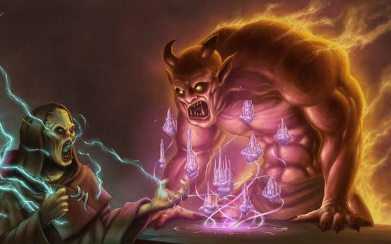 Art, Monsters, magic, daemon, Lightning, fire, Horn, city, Tower, Flying