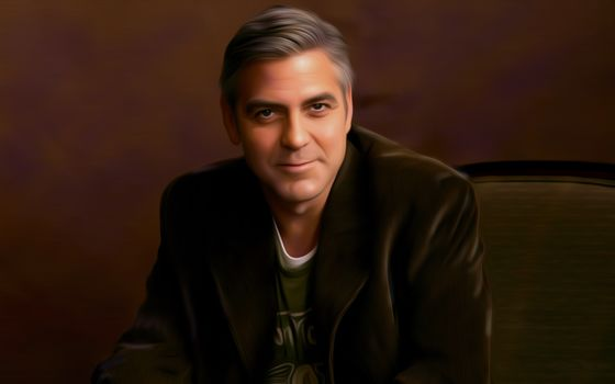 Art, George Clooney, artist, man, Sitting, chair, coat, smile