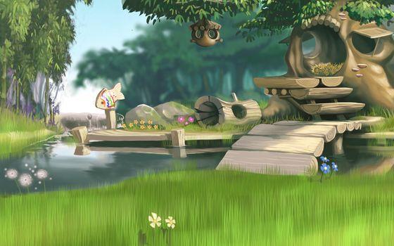 арт, дом, хижина, трава, цветы, река, причал, дерево, лес, доски, рыбка