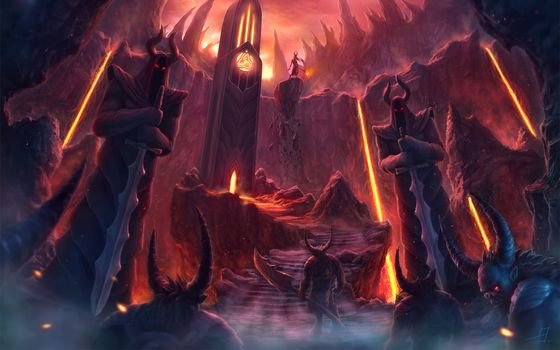 Demons, weapon, tower, stage, burning eyes, lava, rocks, magic, Statue