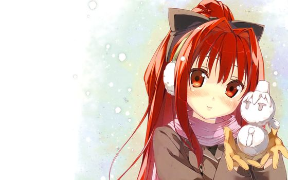 anime, ears, girl, Winter, snow, snowman, Snowflakes