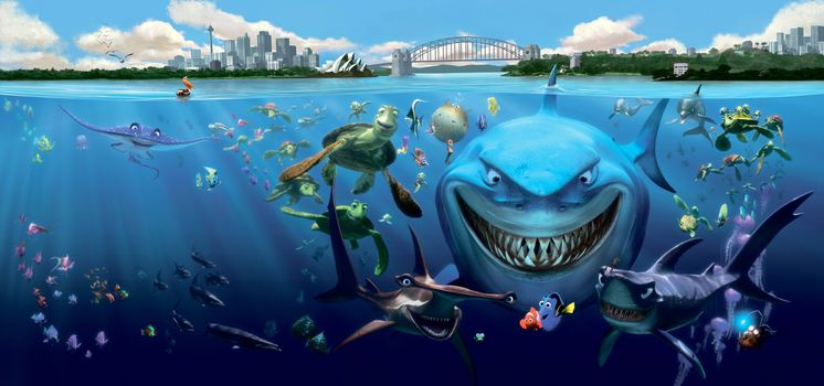 dumb, Cartoon, cartoon, turtle, Sharks, fish, Fish, lake, water, underwater, bridge,