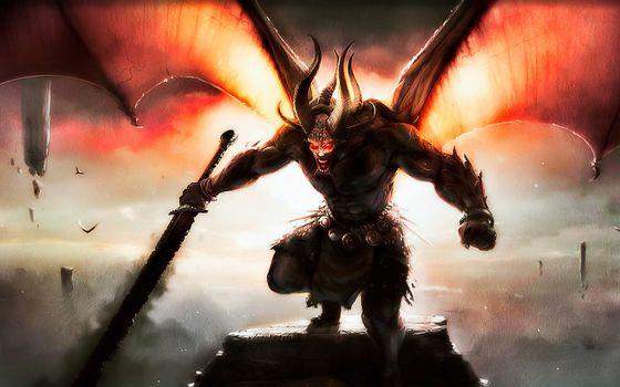 daemon, weapon, sword, Birds