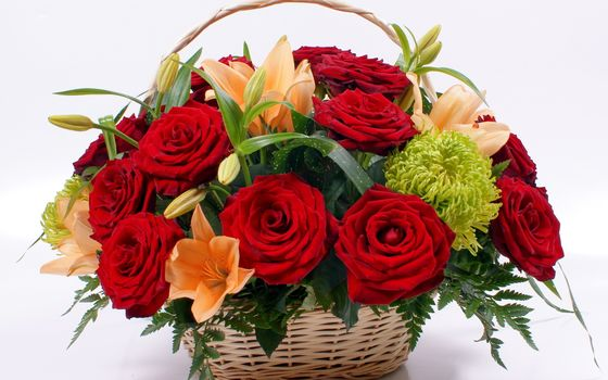 Rose, red, Lily, Flowers, flower, bouquet, nature, basket, basket, Beautiful