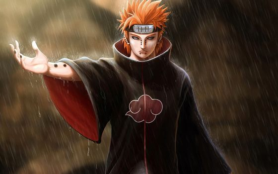 Art, naruto, pain, guy, Piercing, hand, bandana, red, rain
