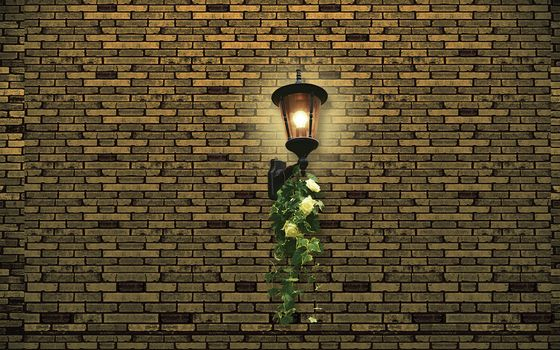 wall, brick, off, lantern