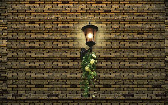 Стена, кирпич, горит, фонарь