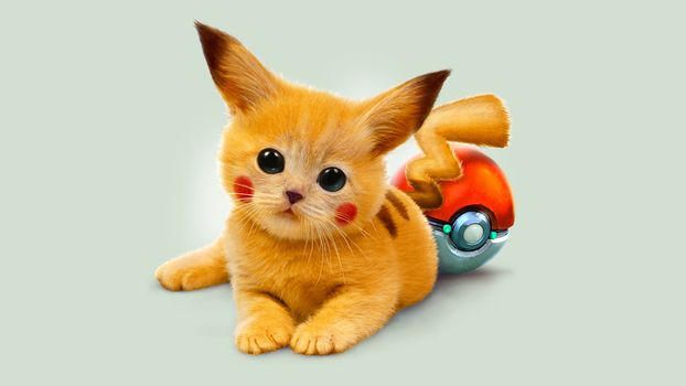 kitten, red, Pokemon, Pikachu, eyes, Art