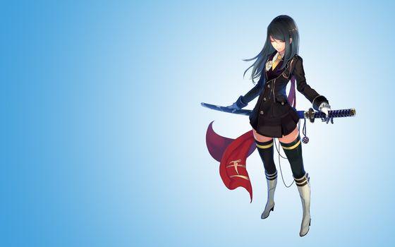 девушка, катана, оружие, перчатки, длинные волосы, чулки, синий фон