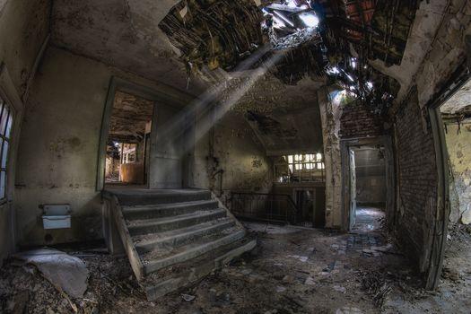 premises, building, stage, devastation, abandonment, mold, debris, sun