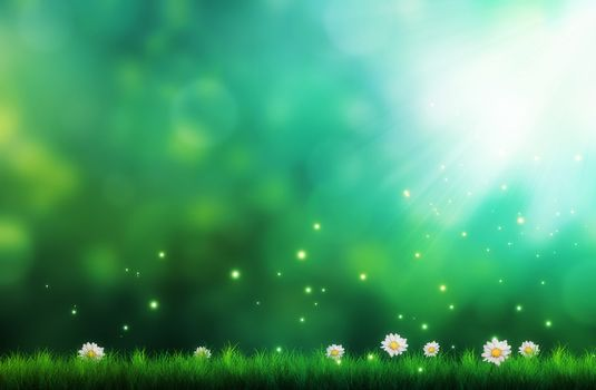 Art, Flowers, Daisies, grass, picture, green background, Sparks