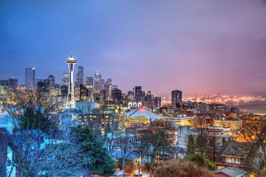 seattle, Seattle, night city, panorama