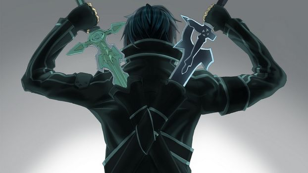 two swords, back, Kirito, Swordmaster onlain
