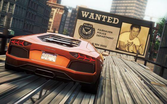 суперкар, гонка, трюк, город, рекламный щит
