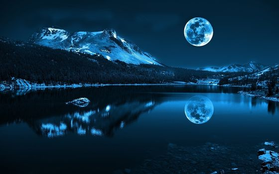 moon, night, lake, Mountains