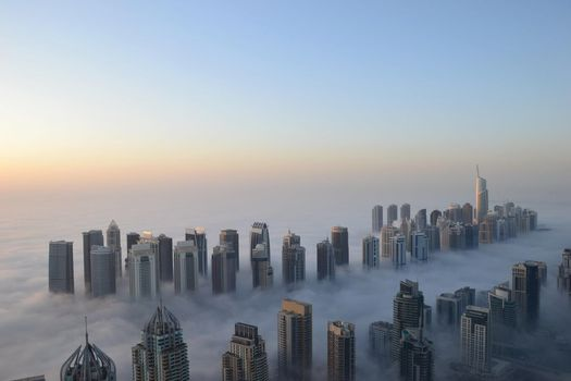 dubai, Morning, fog, cool, Skyscrapers, height
