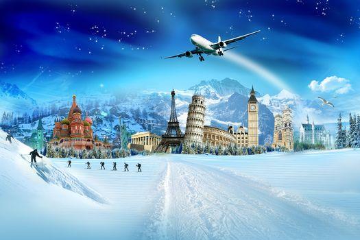 снег, лыжники, зима, птицы, кремль, пизанская башня, эйфелева башня, колизей, ёлки, букингемский дворец