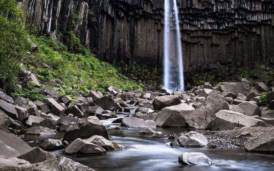 водопад, скалы, камни, вода, зелень