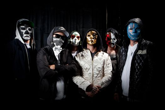 группа, маски, hollywood undead, danny, johnny 3 tears, charlie scene, funny man, da kurlzz, j-dog, notes from the underground