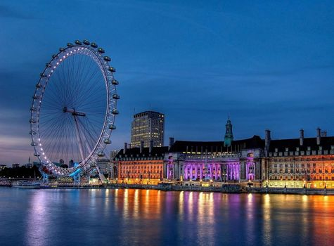 Лондон, london, Великобритания, united kingdom, Англия, england, Темза, thames, колесо обозрения, london eye, ночь, night, река, river