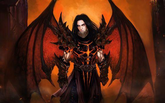 Art, guy, wings, daemon, armor
