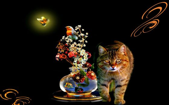 beauty, cat, magical, flowers, birds, butterflies, creative, art, Design, marvelous, vase, water, fish, fantasy