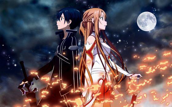 девушка, парень, меч, оружие, ночь, огонь, луна