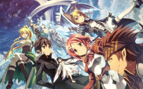 swordsman online, Kirito, Asuna, Sinon, Bodice, Klein, Silica, Yui, dragon, Elves, Girls, boys, armor, sky, Lizbeth