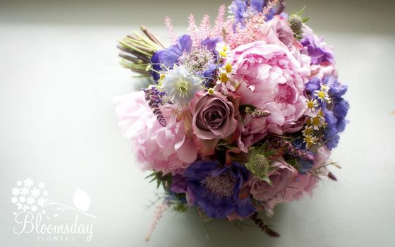 scabious, Love-in-a-mist, chamomile, Rose, Peonies, bouquet, composition, Flowers