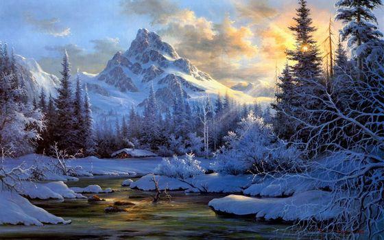 taiga, river, nature, small hut, smoke, snow, Winter, Trees