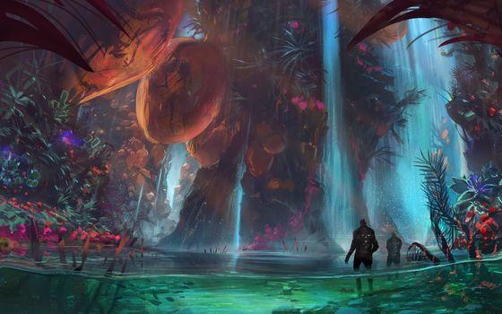 Art, Fantasy, water, Plants, rocks, waterfall