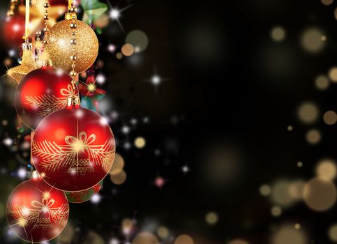 Balls, red, Gold, Christmas, Toys, New Year, Christmas, black background, New Year