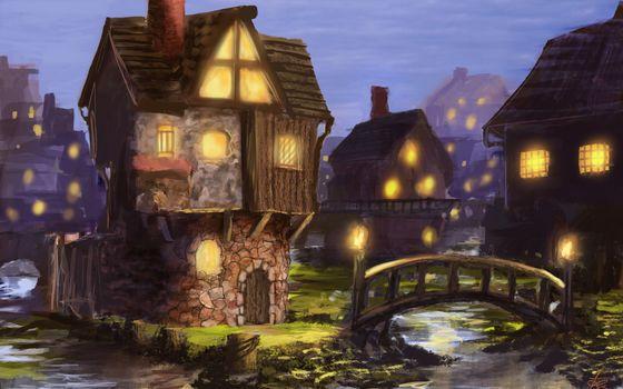 Art, town, night, lights, home, river, bridge