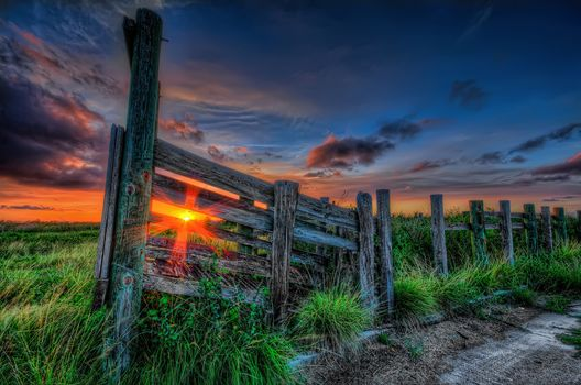 sunset, grass, rays, sun, sky, clouds, color, path, nature, sunset, grass, rays, sun, sky, clouds, color, the way, nature